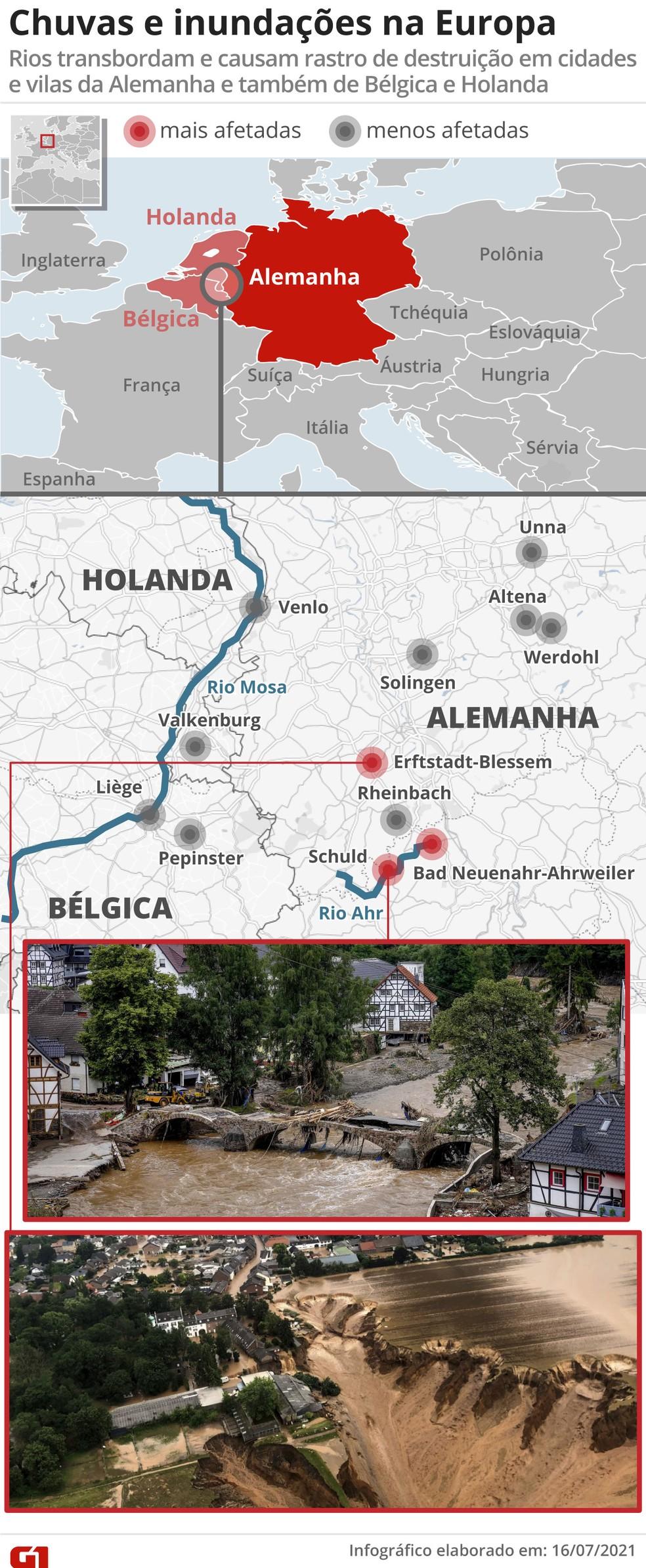 V2 Chuvas e inundações na Europa: temporal deixa dezenas de mortos na Alemanha e na Bélgica e afeta cidades também na Holanda e na França — Foto: Editoria de Arte/G1