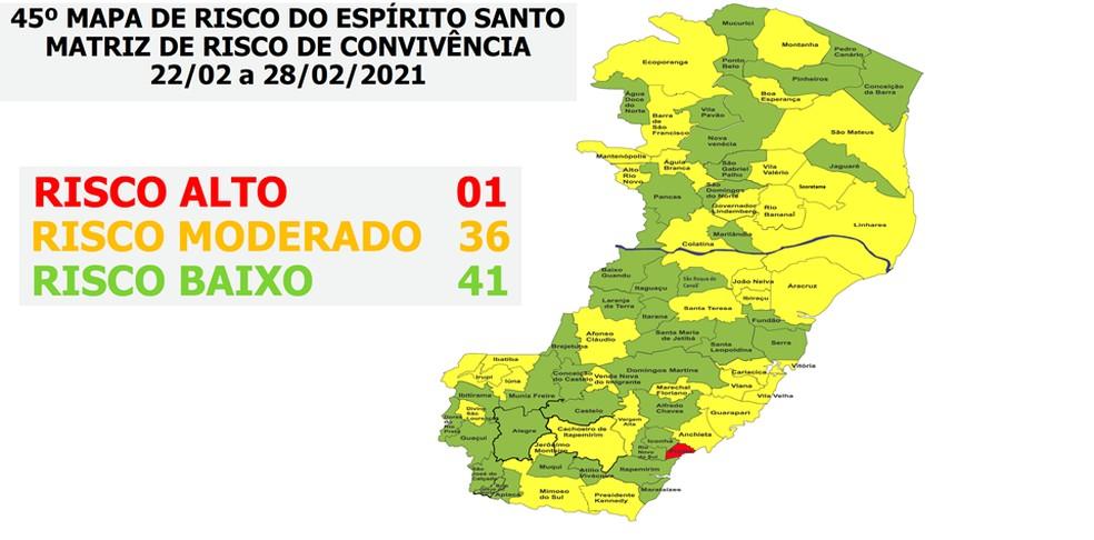 Mapa de risco do ES — Foto: Divulgação/Governo do ES