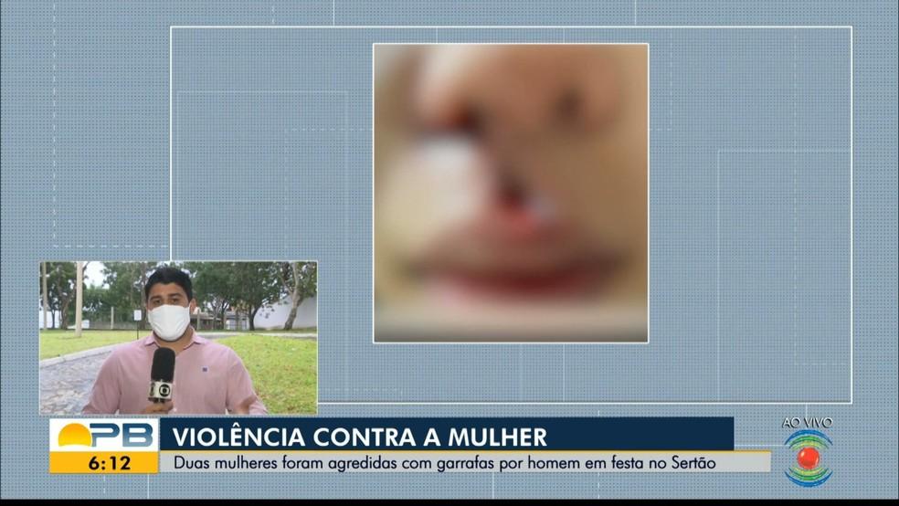 Duas mulheres são agredidas por homem com garrafas de vidro por recusarem dança, na PB — Foto: TV Paraíba/Reprodução