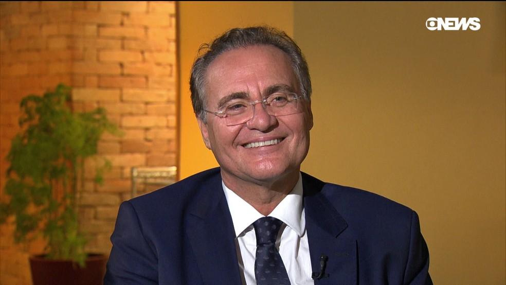 O senador Renan Calheiros (MDB-AL), durante entrevista à GloboNews  — Foto: GloboNews