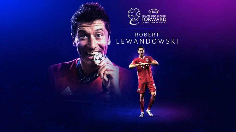 Lewandowski foi eleito o melhor atacante da Champions League 2019/20 — Foto: Reprodução / Twitter