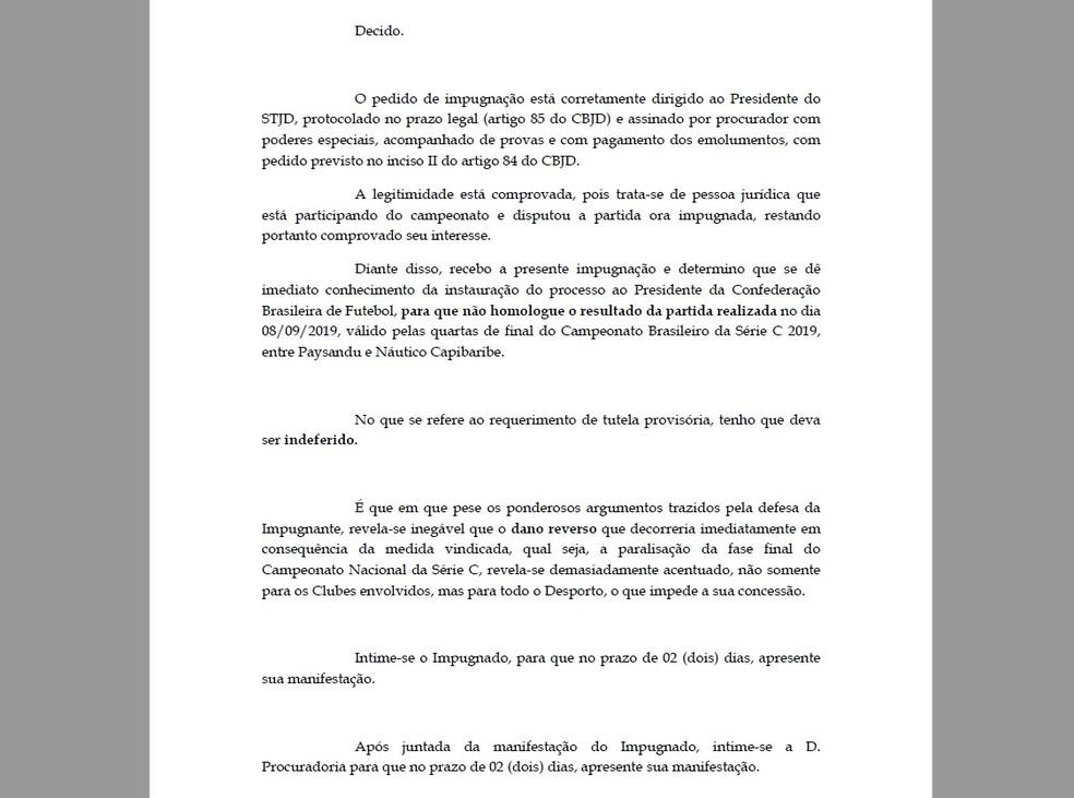 Trecho do despacho emitido pelo presidente do STJD nesta sexta-feira — Foto: Reprodução/STJD