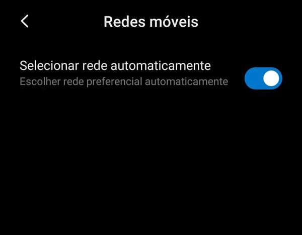 Imagem mostra como selecionar a rede manualmente; Não registrado na rede
