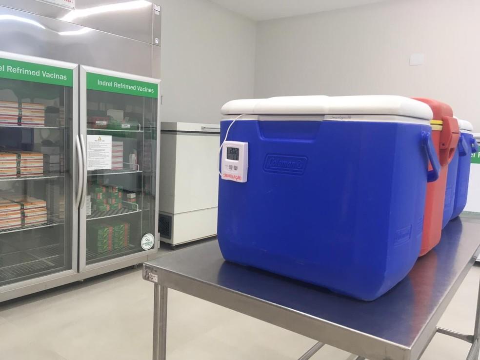 Caixas com temperatura controlada para distribuição das vacinas em Bauru — Foto: Vanessa Aguiar/TV TEM
