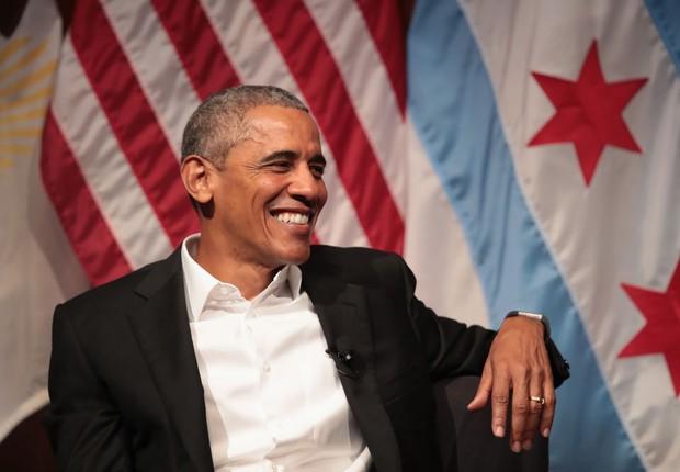 Barack Obama em primeiro discurso público depóis de deixar a presidência (Foto: Scott Olson/Getty Images)