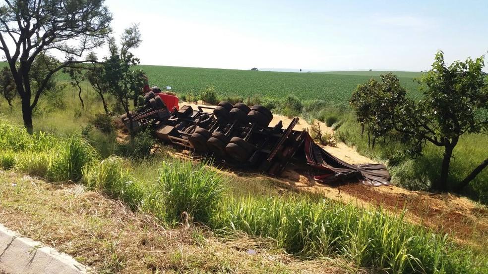 Com o impacto, o caminhoneiro perdeu o controle do veículo que capotou às margens da rodovia  (Foto: PRF/Divulgação )