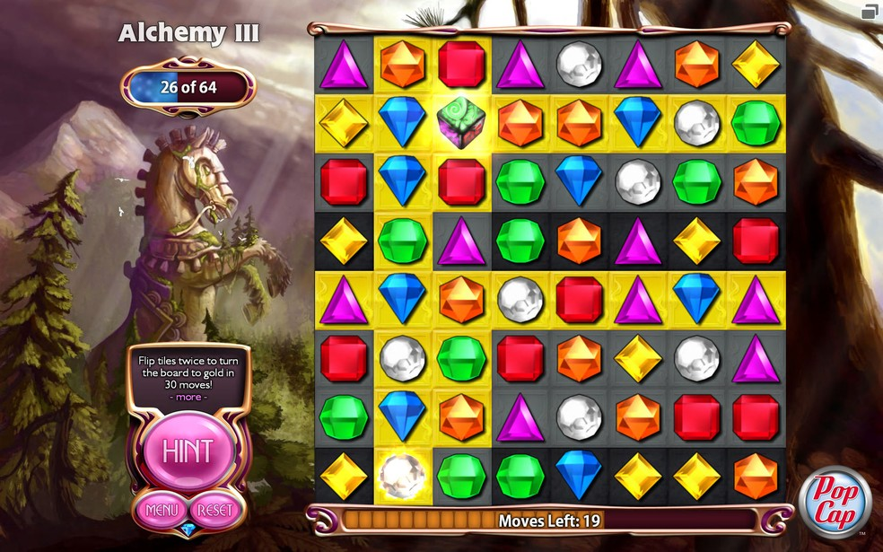 Jogos no estilo puzzle, como Bejeweled, são excelentes aliados no tratamento de estresse e ansiedade — Foto: Divulgação/PopCap