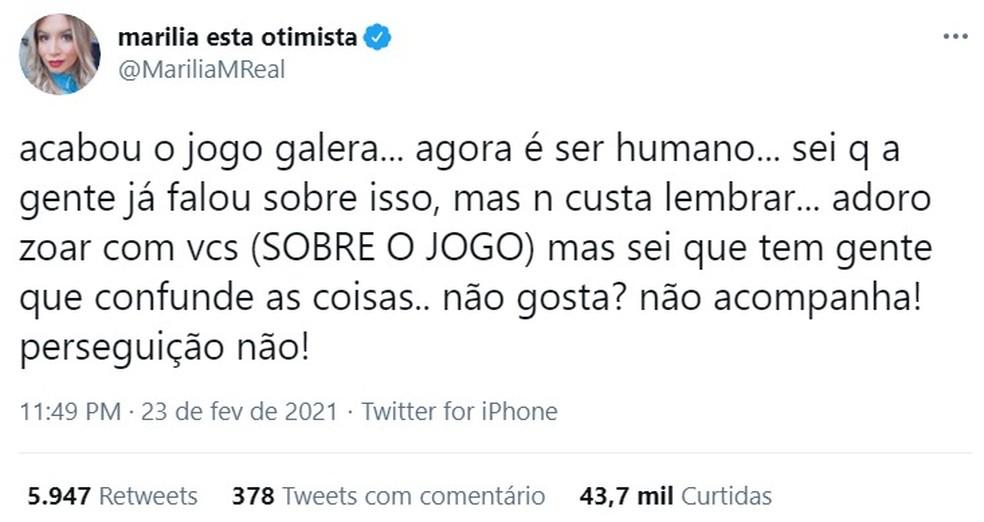 Marília Mendonça — Foto: Reprodução/Twitter