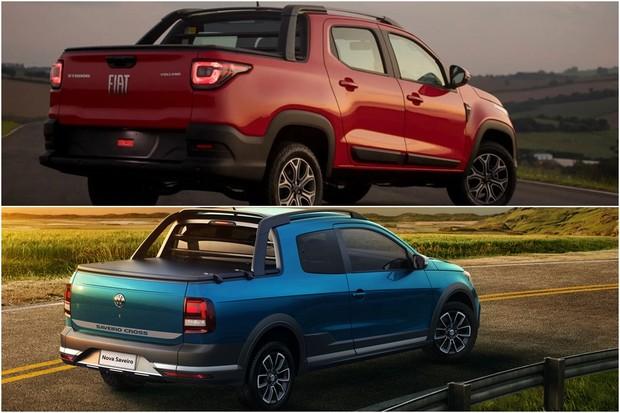 Fiat Strada Volkswagen Saveiro Montagem Comparativo (Foto: Divulgação)
