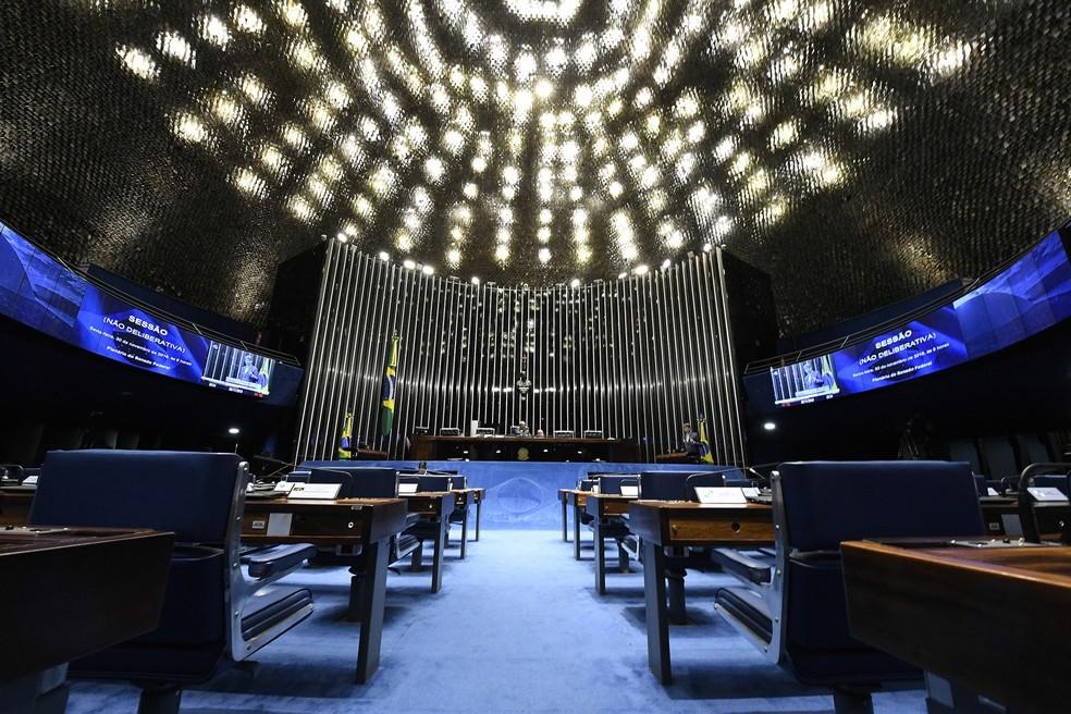 Plenário do Senado durante sessão na última sexta-feira (30) — Foto: Edilson Rodrigues/Agência Senado