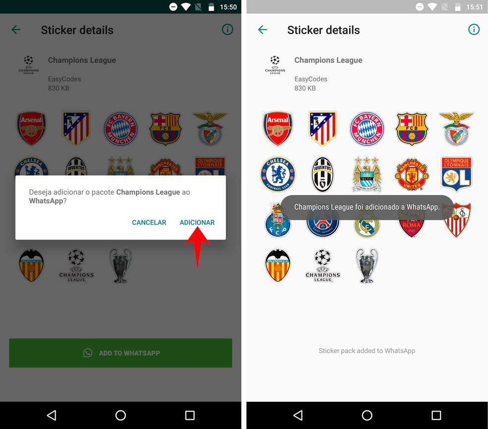 Confirme a instalação do pacote de adesivos de times de futebol ao WhatsApp — Foto: Reprodução/Rodrigo Fernandes