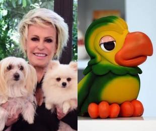 Ana Maria Braga com os cães e o Louro José   Divulgação