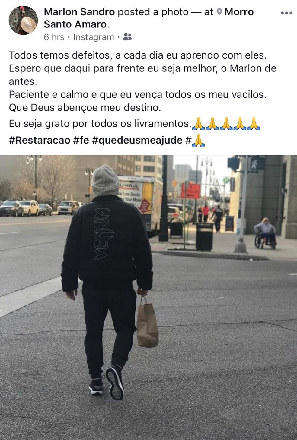 O post de Marlon Sandro nas redes sociais nesta quinta (Foto: Reprodução/Instagram)