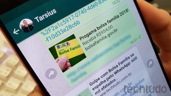 Golpe no WhatsApp utiliza nome do Bolsa Família para atrair cliques (Foto: Thássius Veloso / TechTudo)