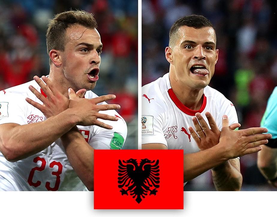 Xhaka e Shaqiri homenageiam Kosovo e Albânia em comemorações dos gols suíços