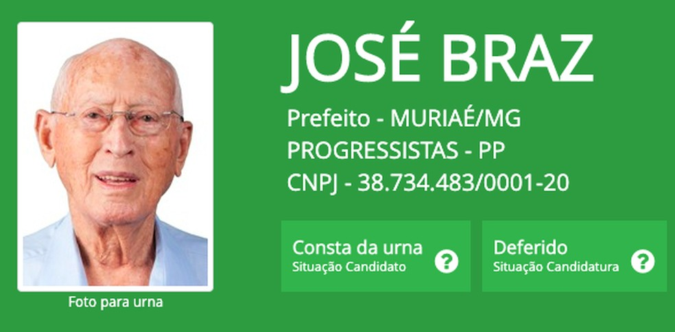 José Braz, de 95 anos, o prefeito mais velho eleito em 2020, em Muriaé (MG) — Foto: Reprodução