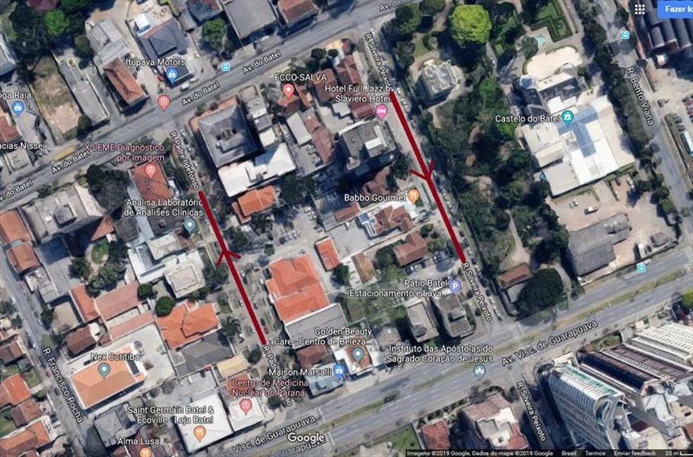Duas ruas do Batel passam a ter sentido único de circulação — Foto: Divulgação/Setran
