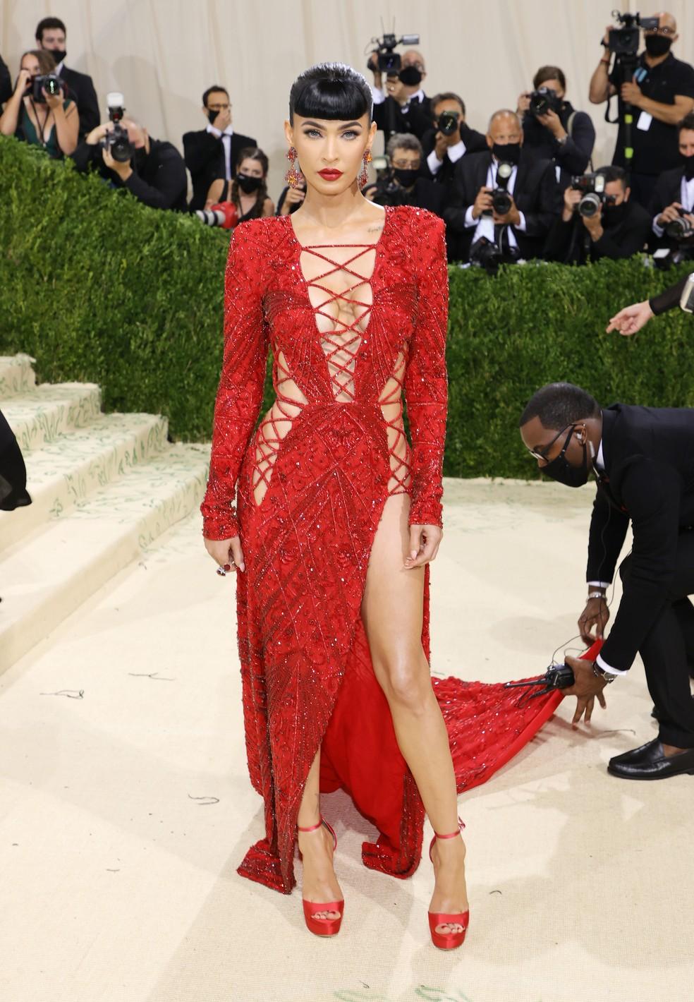 Megan Fox no Met Gala 2021 — Foto: Mike Coppola/Getty Images