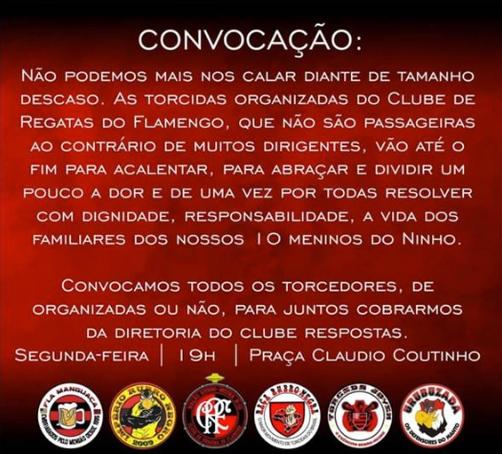 Convocação torcida Flamengo protesto — Foto: Reprodução
