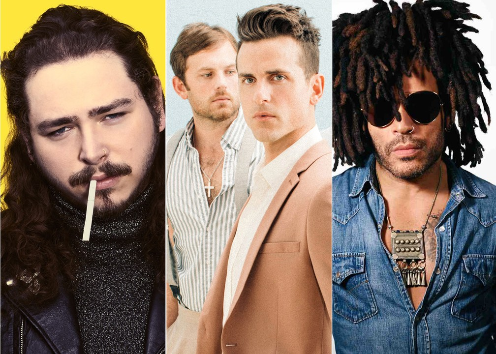 Post Malone, Kings of Leon e Lenny Kravitz são atrações do sábado de Lollapalooza — Foto: Divulgação