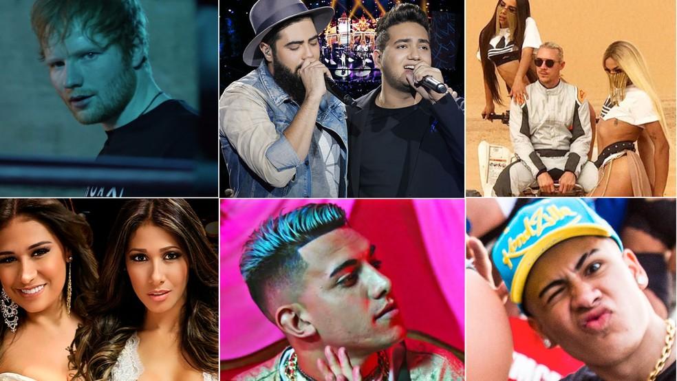 (Da esquerda, em sentido horário:) Ed Sheeran, Henrique e Juliano, Anitta, Diplo e Pabllo Vittar, MC Kevinho, MC Fioti, Simone e Simaria estão no Top 10 de 2017 do G1 (Foto: Divulgação)
