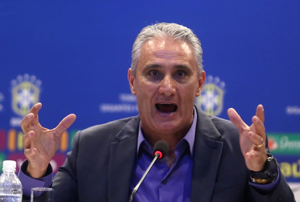 Tite em coletiva da seleção brasileira (Foto: Pilar Olivares / Reuters)