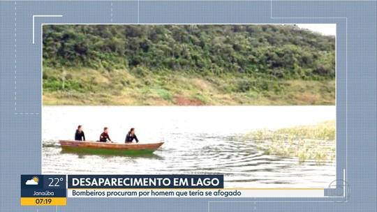 Bombeiros fazem buscas por homem que teria se afogado em lago de Ponte Nova