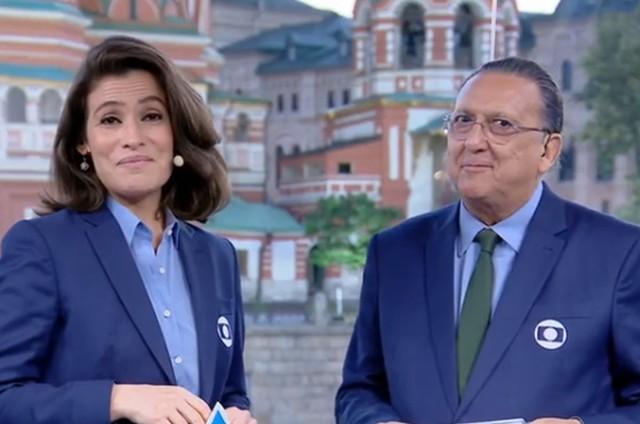 Renata Vasconcellos e Galvão Bueno na Copa da Rússia (Foto: Reprodução)