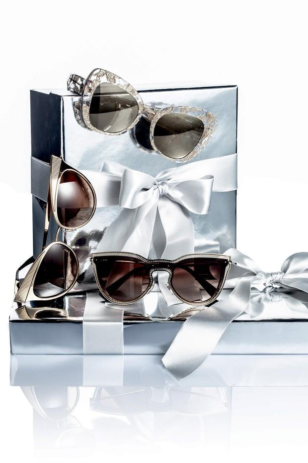 Em sentido horário: Dolce & Gabbana na Luxottica R$ 1.500; Dolce & Gabbana na Luxottica R$ 1.650; Valentino na Luxottica R$ 1.220 (Foto: Carlos Bessa)