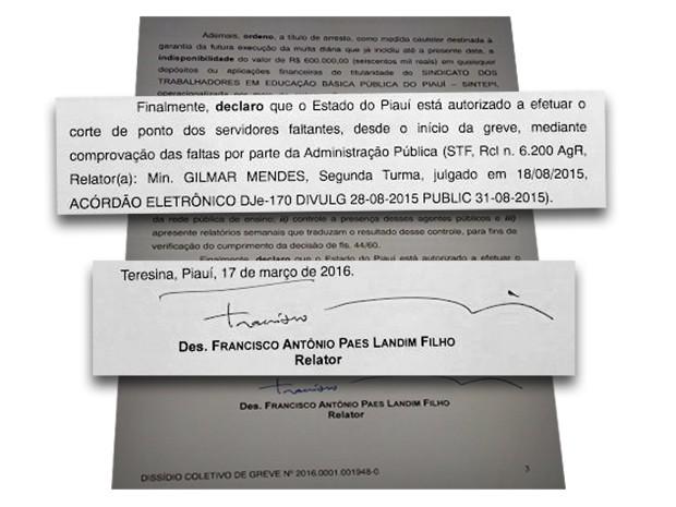 Decisão do Tribunal de Justiça sobre greve dos professores do estado do Piauí (Foto: Tribunal de Justiça)
