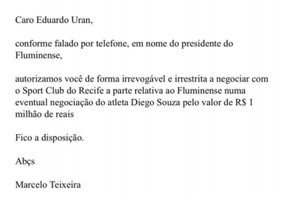 Flu bloqueia R$ 5 mi da venda de Diego Souza