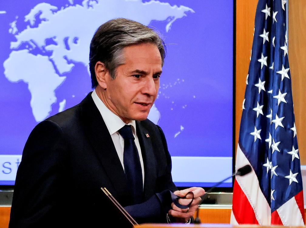 Secretário de Estado norte-americano, Antony Blinken, em entrevista coletiva em 27 de janeiro de 2021 em Washington — Foto: Carlos Barria/Pool/Arquivo