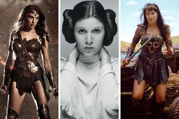 Mulher-Maravilha, Leia e Xena representam parte das grandes personagens que já passaram pelo cinema e televisão (Foto: Divulgação)