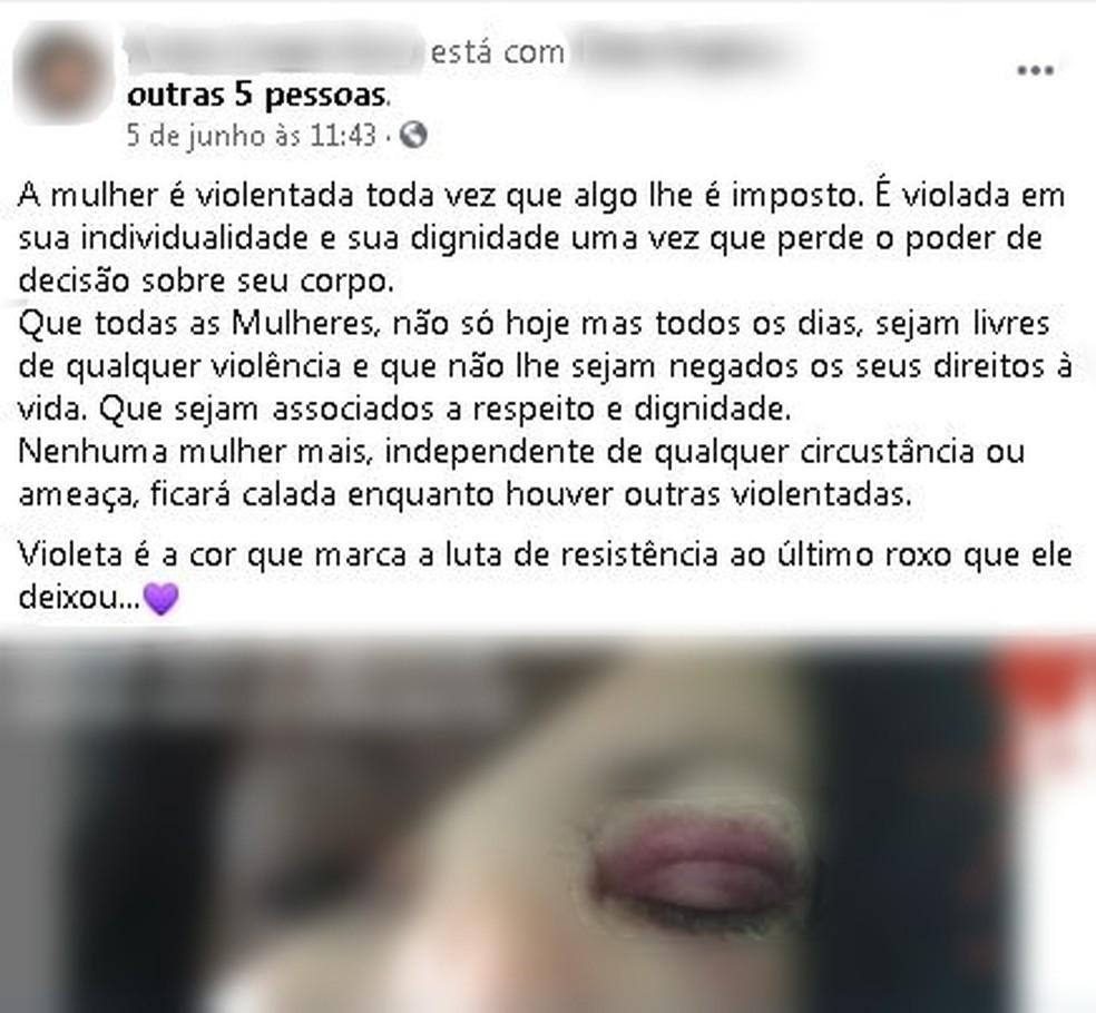 Mulher usou as redes sociais para denunciar as agressões do marido em Marília — Foto: Facebook/ Reprodução