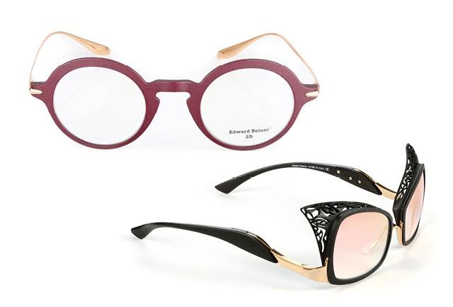 Pares de óculos feitos por impressora 3D, da grife Edward Beiner. A marca é pioneira no uso dessa tecnologia   (Foto: Divulgação)