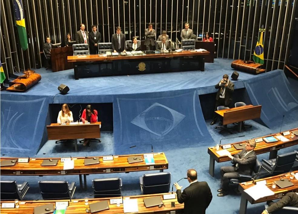 Plenário do Senado druante a análise do decreto de intervenção no RJ (Foto: Gustavo Garcia/G1)