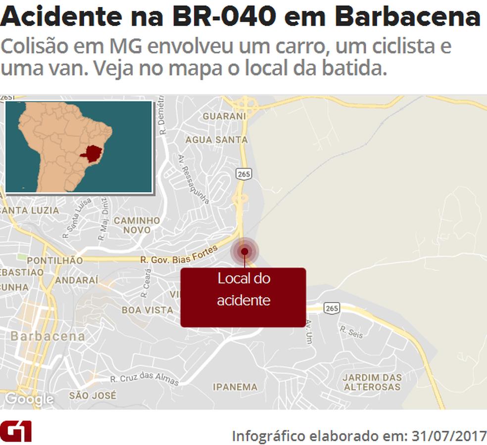Mapa - Acidente na BR-040 em Barbacena (MG) (Foto: Arte/G1)