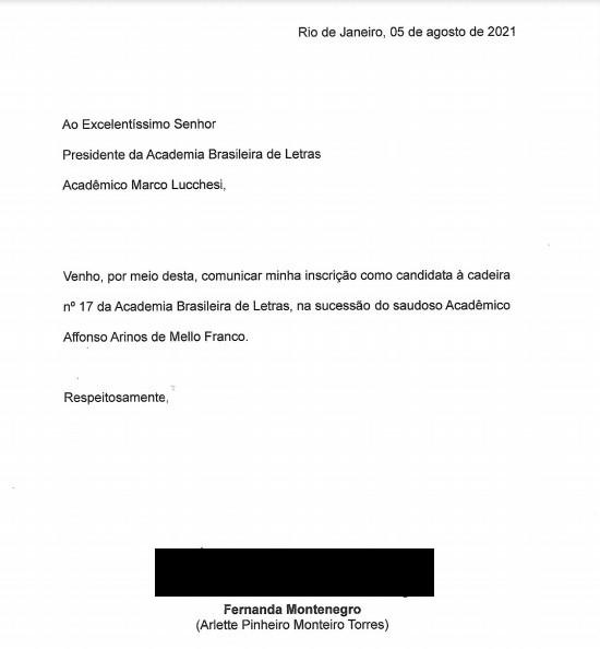 A inscrição de Fernanda Montenegro na íntegra