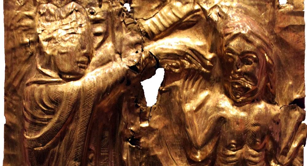 Peça que retrata o batismo do rei viking Harold Bluetooth (Foto: Wikicommus)