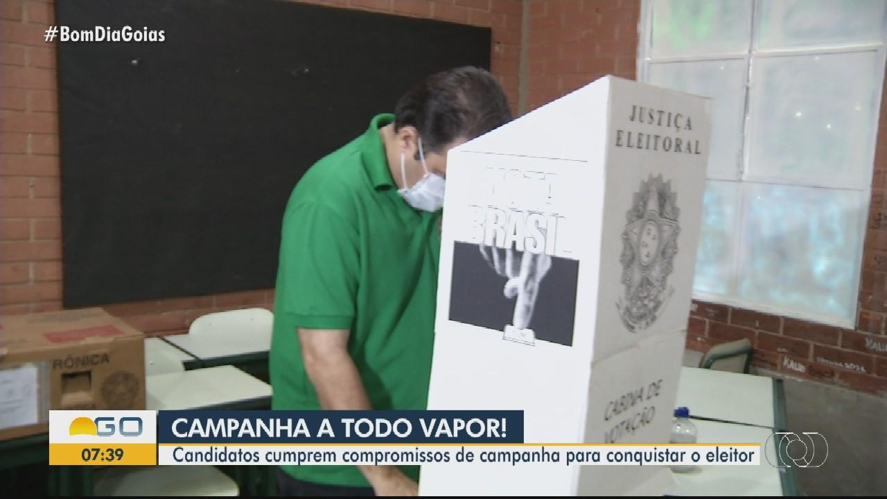 Candidatos cumprem compromissos de campanha para o segundo turno, em Anápolis
