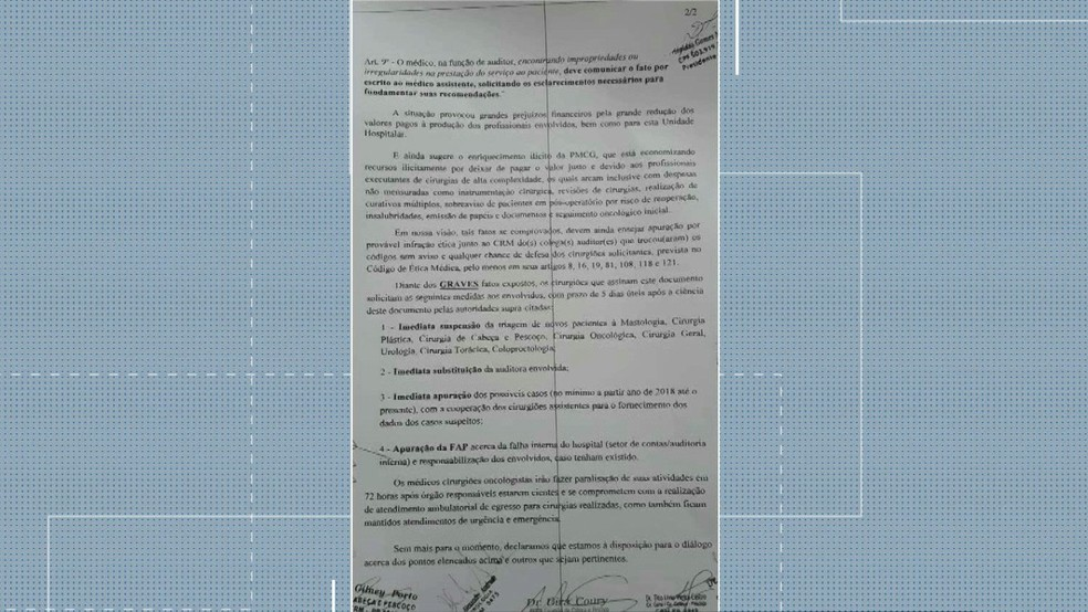 Denúncia dos médicos da FAP foi encaminhada ao MPF, MPPB e CRM — Foto: Reprodução/TV Paraíba