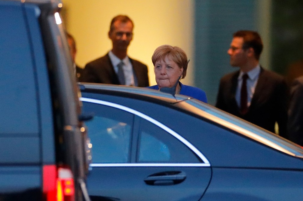 Angela Merkel após uma reunião em Berlim em agosto de 2019 â?? Foto: Odd ANDERSEN / AFP