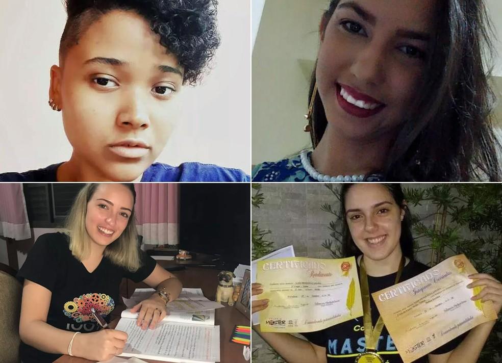 Do topo esquerdo, em sentido horário: Gabriela de Araújo (PR), Mariana Oliveira (PI), Aimée Utuni (SP) e Laís Mesquita (CE), quatro das 42 candidatas do Enem 2018 que tiraram nota mil na redação — Foto: Arquivo pessoal