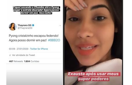 A apresentadora Thaynara OG conta que ficou exausta torcendo pelo amigo Pyong Reprodução/Instagram