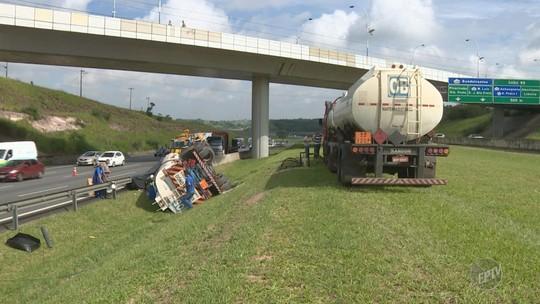 Caminhão com combustível tomba na Rodovia dos Bandeirantes, em Campinas; sem feridos