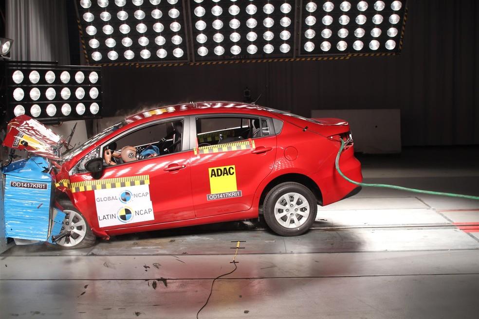Kia Rio Sedan também levou nota zero (Foto: Divulgação / Latin NCap)