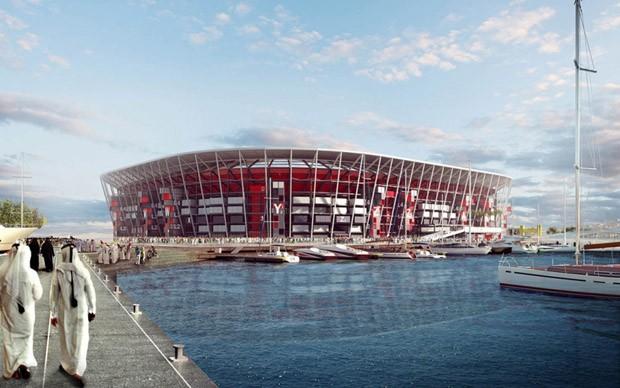Copa do Mundo 2022: estádio ao lado da bahia de Doha (Foto: Divulgação )