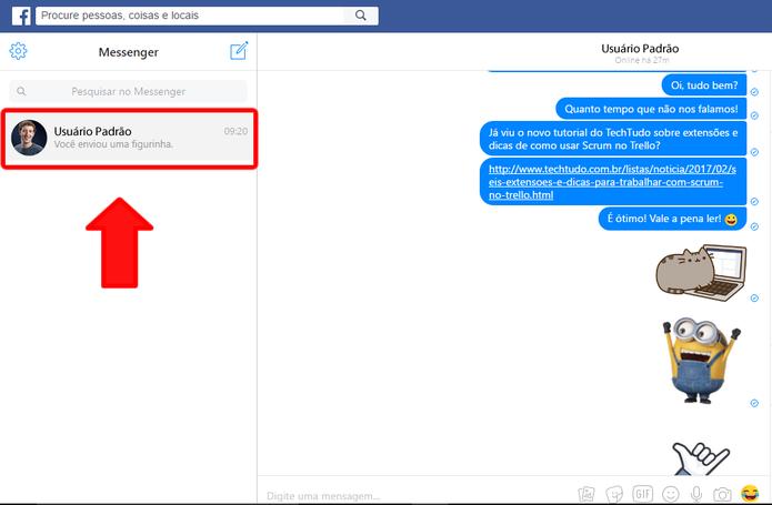Tudo sobre o Facebook Messenger - usuario padrao