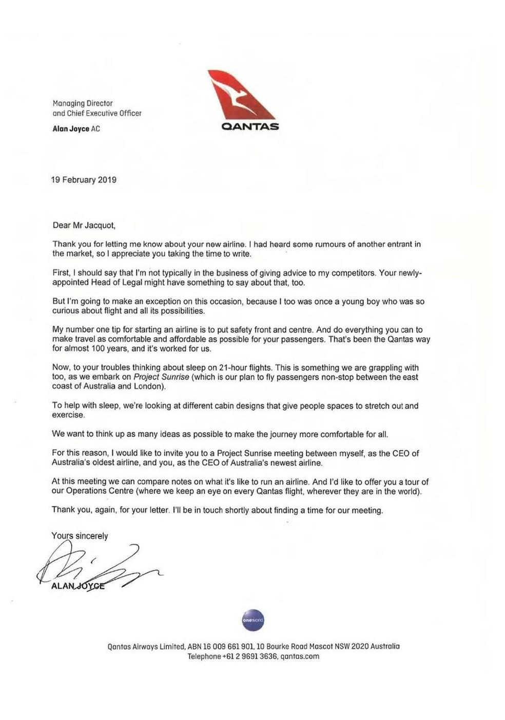 Carta de diretor da Qantas a menino que quer criar a própria empresa aérea — Foto: Qantas/Reprodução/Twitter