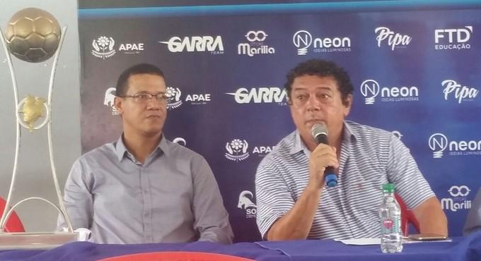 Cleibson Ferreira e William Rio Branco na apresentação do Maranhão (Foto: Bruno Alves/GloboEsporte.com)